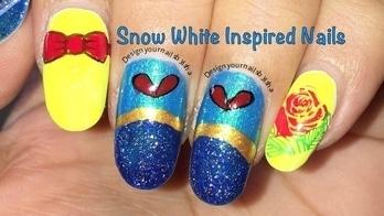 Snow White Inspired Nails | Designyournailsbyisha #snowwhitenailart #dressinspirednails #designyournailsbyisha #ishanailart #bownailart #rosenailart #flowernailart #naildesign #instanails #roposonails #roposolove #soroposo #nailarttutorial #nailartblogger #nailartvideo #youtuber