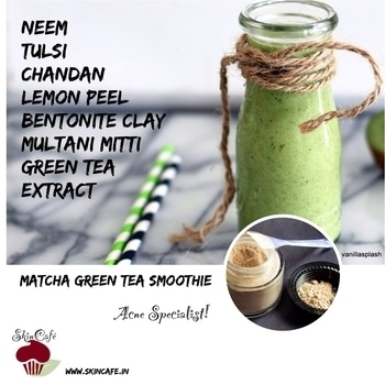 Matcha Green Tea Smoothie- Face pack designed for oily/acne troubled skin  #facial #facepack #ayurvedic #oilyskin #acne #pimples #pimple #acneproblems #skincare #neem #tulsi #holybasil #chandan #sandalwood #lemonpeel #bentoniteclay #fullersearth #fullersearthclay #multanimitti #greentea #matcha #facesmoothie #natural #wholesome #nochemicalpreservatives #crueltyfreeskincare #crueltyfreebeauty #skincare #skincafe #skintreats #handcrafted