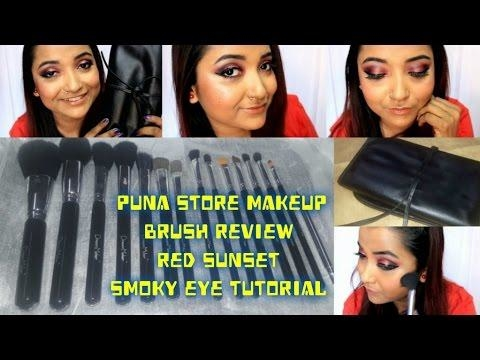 Affordable Makeup Brush Set|Puna store Makeup Brush Set Review & Use |Red Sunset Smoky Eye Tutorial