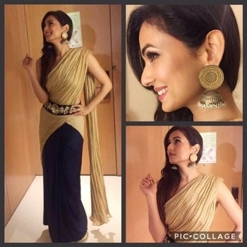 Looking super sexy & stunning in a customised saree drape by #AmyBillimoria is #Bollywood star Sonal Chauhan at the #TSRAwards  To order or customise, pl DM us.