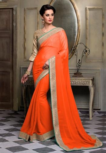 Orange Color Chiffon Designer Saree - https://goo.gl/IH3dfr  #beautiful #love #beauty #ethnic #beauty #wedding #partystarter #designer #followme #cool #sareestyle #sareedesigns #saree #sareelook #sareeshopping #sareeprice #designer saree #sarees_collection #saree #chiffonsaree #chiffondress #chiffon #orange #orangesaree