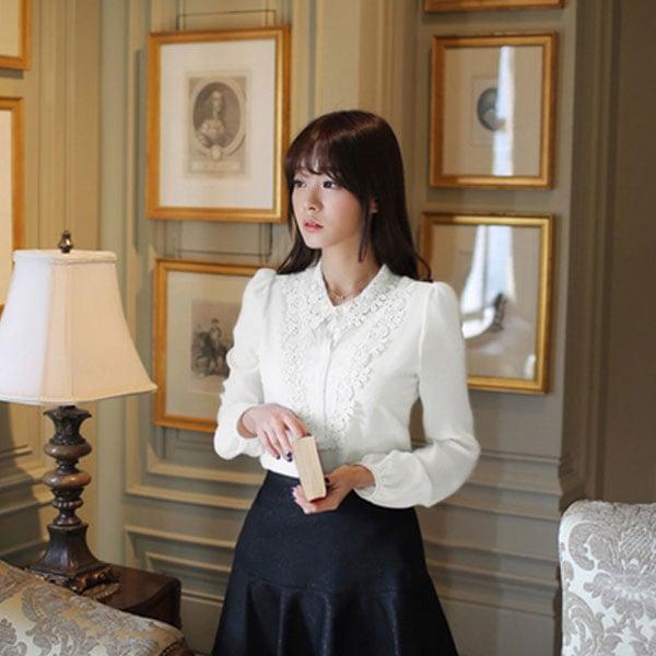 White Lace Shirt  #mogsh #serene #lacetop #white