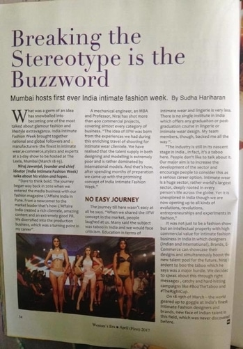 Woman's Era does it again :)  Official Magazine partner for IIFW's Season One, India's leading fashion magazine Woman's Era offers a splendid coverage to India's 1st Ever, India Intimate Fashion Week in its April Issue. Thank you Sudha for such a nice gesture, we are truly overwhelmed.  #WomansEra #MediaCoverage #MagazineCoverage #IIFW #IIFWIndia #IndiaIntimateFashionWeek #IndiasFirstEver #IndiasTopFashionWeek #IndiasBestFashionWeeks #BooTheTaboo