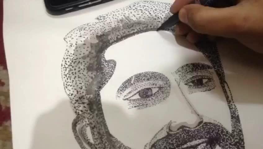 The #art of DOTS! #pointillism #dotdrawing #portrait #artlife #birthdaylove #giftidea