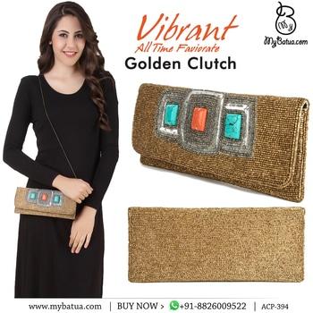 Sadie Gold Hand Embroidered Clutch Bag | MyBatua  Buy Link: http://bit.ly/2oAPPFv Whatsapp: +91-8826009522 (#worldwide #shipping)     #goldenbag #online #embroideredbag #beadedbag #designerbag #womenstyle #womensfashion #womenswear #goodquality #brandedbag