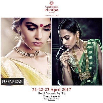 Catch The Latest #Jewellery and #Clothing Trends This #WeddingSeason.  Celebrating Vivaha is Showcasing POOJA NIGAM Latest Jewellery Collection, Exclusively at Hotel #VivantaByTaj, Lucknow on 21st, 22nd & 23rd April 2017.  Come and see your favorite designers showcasing their latest collections exclusively at Celebrating Vivaha's Asia's biggest and most luxurious #WeddingExhibition in Lucknow.  For Queries Visit at : www.vivahaexb.com or Contact: 09811923456  #Clothes #Jewelry #DiamondJewellery #GoldJewellery #Bridal #Exhibition #BridalDresses #WeddingExpo #DesignerJewellery #DesingerDresses #WeddingDresses #Lucknow #IndianFashion #WeddingJewellery #Dresses #Fashion #Events