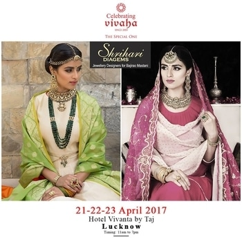 Catch The Latest #Jewellery and #Clothing Trends This #WeddingSeason.  Celebrating Vivaha is Showcasing #ShriHariDiagems Latest Jewellery Collection, Exclusively at Hotel Vivanta by Taj , Lucknow on 21st, 22nd & 23rd April 2017.  Come and see your favorite designers showcasing their latest collections exclusively at Celebrating Vivaha's Asia's biggest and most luxurious #WeddingExhibition in Lucknow.  For Queries Visit at : www.vivahaexb.com or Contact: 09811923456  #CelebratingVivaha #Designer #Dresses #Fashion #Bridal #Exhibition #Expo #WeddingExpo #Events #WeddingDresses #DesignerDresses #TheAshok #PhotoofTheDay #IndianWedding #IndianFashion #Lucknow