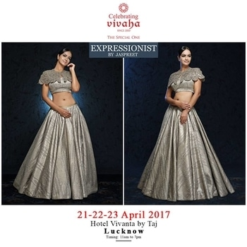 Celebrating Vivaha is Showcasing Expressionist by Jaspreet Latest Wedding Collection, Exclusively at Hotel Vivanta by Taj, Lucknow on 21st, 22nd & 23rd April 2017.  Come and see your favorite designers showcasing their latest collections exclusively at Celebrating Vivaha's Asia's biggest and most luxurious #WeddingExhibition in Lucknow.  For Queries Visit at : www.vivahaexb.com or Contact: 09811923456  #Clothes #Jewelry #DiamondJewellery #GoldJewellery #Bridal #Exhibition #BridalDresses #WeddingExpo #DesignerJewellery #DesingerDresses #WeddingDresses #Lucknow