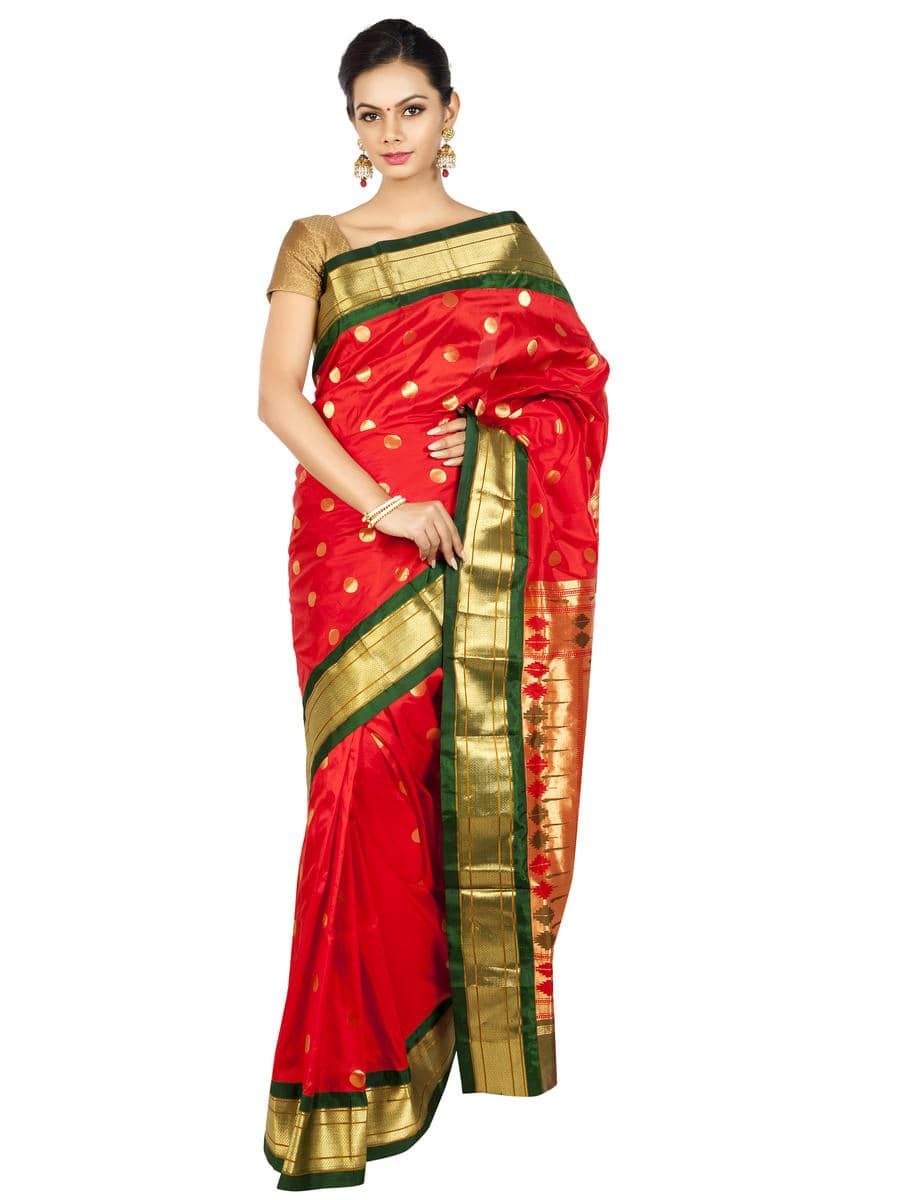 Chilli red paithani with green borders. Price : ₹13,800.00 or $230.00 Buy now at OnlyPaithani.com  #ethnic #paithani #traditionalsaree #wedding