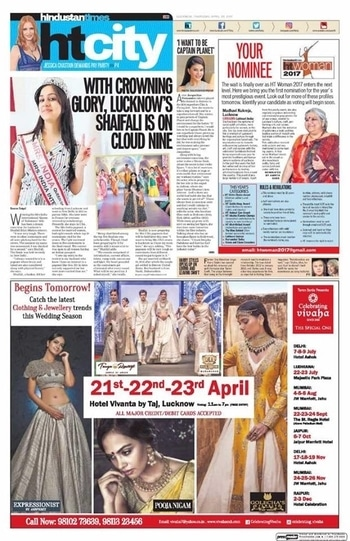 Celebrating Vivaha Featured in Hindustan Times, Lucknow Edition for its Upcoming Grand #WEDDINGEXHIBITION.  Catch the Latest trends in #CLOTHING and #JEWELLERY from the finest designers of #FASHION industry.  For Queries Visit at : www.vivahaexb.com or Contact: 09811923456  #HindustanTimes #Clothes #Jewelry #DiamondJewellery #GoldJewellery #Bridal #Exhibition #BridalDresses #WeddingExpo #DesignerJewellery #DesingerDresses #WeddingDresses #Lucknow