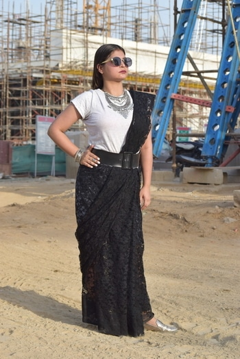 """Life is too short to wear boring clothes"". But what if all you like is in just Black & White. Well, in that case, play with statement silver jewelry, statement lip color and statement sunglasses to complete the look.  #monochromemagic  #monochromeswag #saree #contemporarylook #silverjewelry #powerfuldressing    Styling : @sobhanjan8  Photography : @sobhanjan8 & @khanatika"