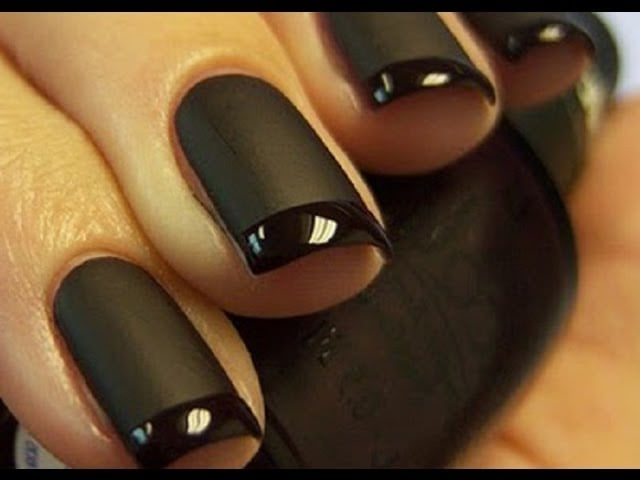 Matte Black nails with Glossy tip Tutorial... 😘😘😘😘