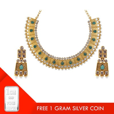 Kriaa Green Austrian Stone Kundan Gold Plated Necklace Set With Free Silver Coin @ Rs. 349/- Shop at : https://goo.gl/TVVMGF #buyonline #jewellery #necklace #freebies #silvercoin #jewelmaze #roposo #instafashion