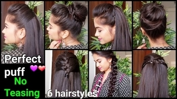 1 Minute Perfect Puff and 6 Quick easy Hairstyles for medium to long hair //Indian Hairstyles 😘
