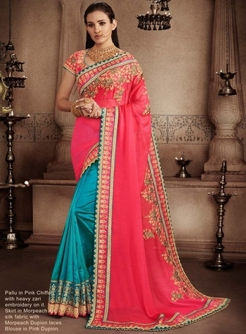 PEACH & TURQUOISE CHIFFON SILK DESIGNER BENGALI HALF HALF SADI WITH BLOUSE To shop this designer wedding wear sari online, click the below link https://www.gravity-fashion.com/peach-turquoise-chiffon-silk-designer-bengali-half-half-sadi-with-blouse-b17099.html