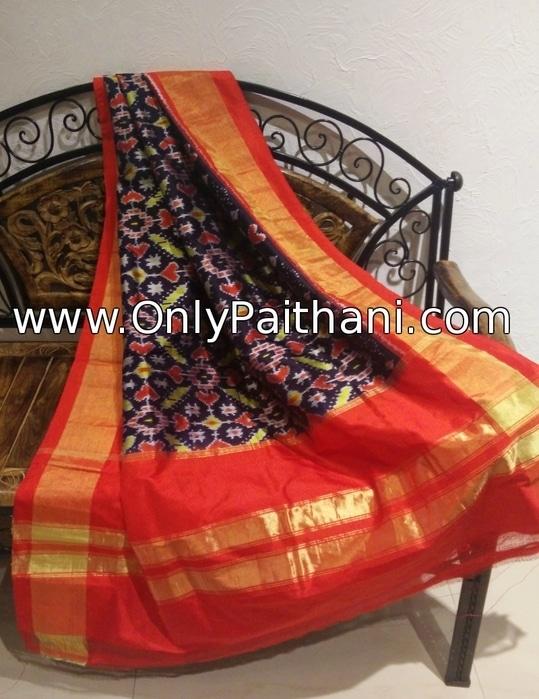Black pure silk ikkat dupatta. Price : ₹5,460.00 or $91.00 Click to buy now OnlyPaithani.com  #ikkat #ikkatdupatta