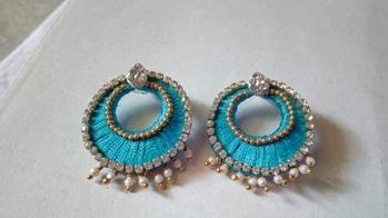 Silk thread chandbali earrings Sky blue medium size Price: 120