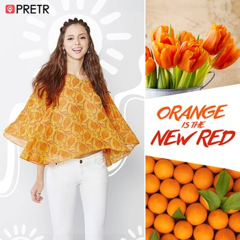 """As quoted by Frank Sinatra,""""Orange is the happiest colour."""" So, shop the happiest colour for your wardrobe today. Shop on Pretr & avail express delivery Click here to get your hands on this stylish top by @globaldesi > http://bit.ly/2oTNjYh #orange #orangelove #colour #happycolours #top #summerlove #wardrobe #fashiondiaries #summer #summerstyle #pretrapp #shoponlineindia #onlineshopping"""
