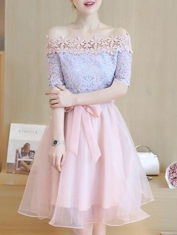 Off Shoulder Lace Joint Dress at just Rs 1800/-  #mogsh #gauze #off-shoulder #blue #pink #lacedress #bowknot #prettyinpink #womensonlineshopping