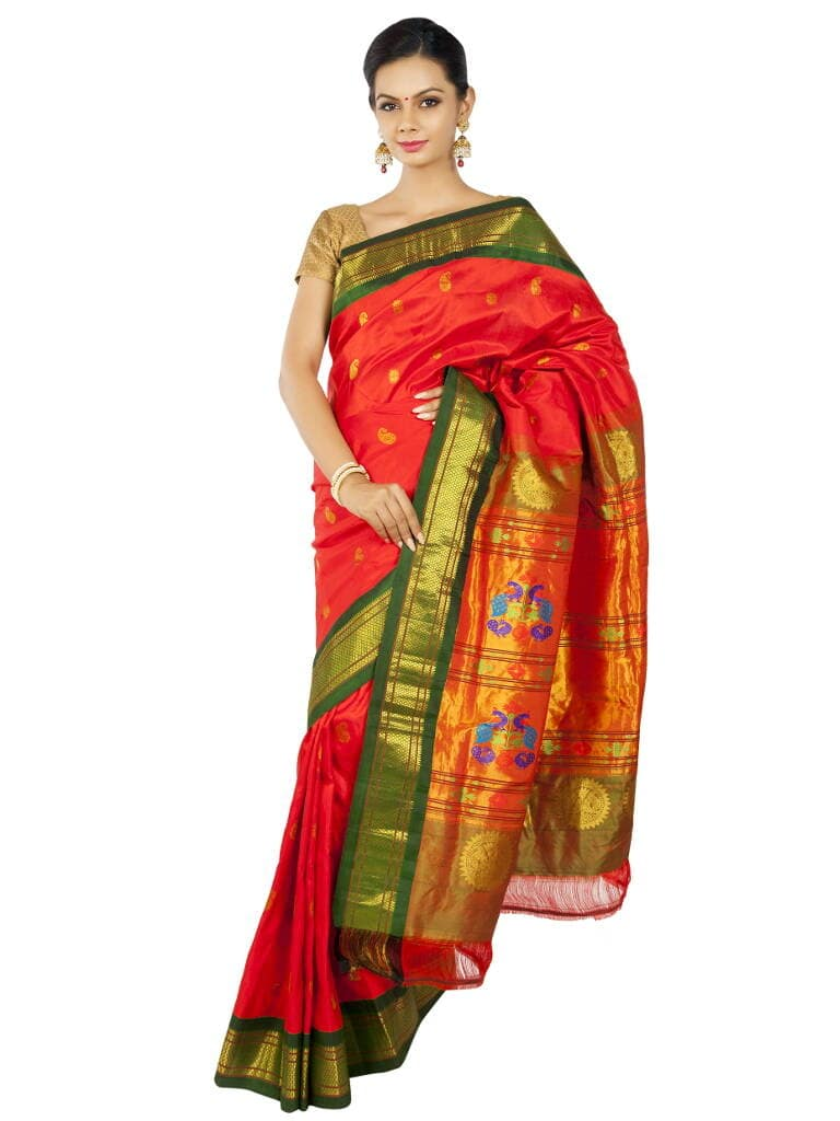 Red Paithani with Bottle Green Borders. Original Price : ₹14,520.00 or $242.00 Special Price : ₹12,540.00 or $209.00 Visit OnlyPaithani shop to find latest collection of paithani sarees.