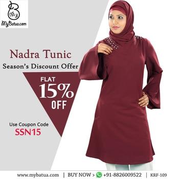 Nadra Tunic | MyBatua  Available in sizes XS to 7XL   Buy Link: http://bit.ly/2qe4wAa Whatsapp: +91-8826009522 (#worldwide #shipping)    #hijab #tunic #maroon #hijabtunic #muslimgirl #collectiontunic #arabianclothing #hijabers #onlineshop #tunicstreet