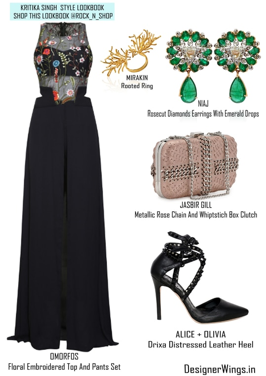 My Lookbook Picks from @Rock_N_Shop  Its a Classy and Chic Co-ordinates by OMORFOS Floral Embroidered Top And Pants Set and I have styled up the look by accessorising the outfit with such a beaut Mirakin rooted ring, NIAJ Rosecut Diamonds Earrings With Emerald Drops,JASBIR GILL Metallic Rose Chain And Whiptstich Box Clutch and ALICE + OLIVIA Drixa Distressed Leather Heels. #rocknshop #rocknshoplookbook