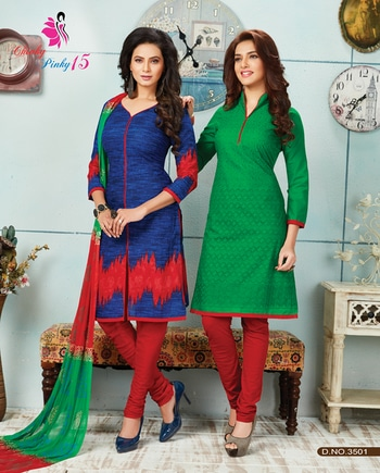 Refine your combo crafting skills by pairing up these trendy cotton designer suits!  #khwaish #khushika #blue #red #green #combo #salwarkameez #cotton #printed #trendy #stylishwear