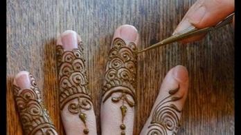 Beautiful and Arabic Style Mehndi design art for Fingers. #mehendi