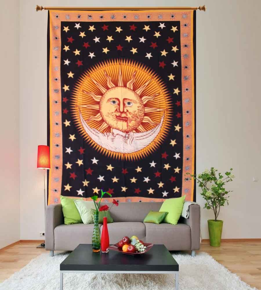 Perfect for topping a bed, couch, wall or your favorite chair.This Wall Tapestry can also be used as a: - Tapestry or a Wall Hanging, Bedspread, Bed Cover, Table Cloth, Curtain, Dorm Decor, Picnic Sheet Add an ethnic feel to your room with this cotton handmade wall hanging. - See more at: https://www.handicrunch.com/en/wall-hangings-and-tapestry/sun-moon-tapestry1.html