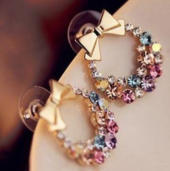 Colorful Rhinestone Bow Earrings MRP : Rs. 199/-  Product Code: E2150  http://www.bouteeko.com/productdetail/colorful-rhinestone-bow-earrings