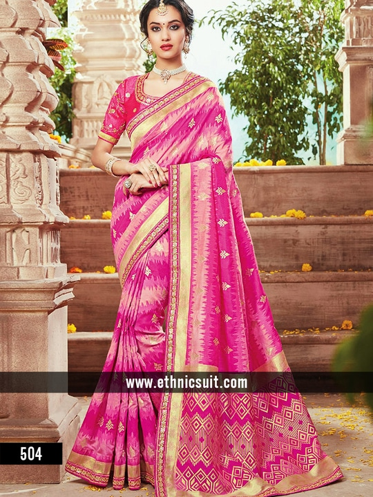 Heavy Designer Wedding Rich Look Sarees Collection.			 			 Add us on WhatsApp (+91-99250-45438) for immediate Order.  Available in Store Now  For More Visit us : http://ethnicsuit.com/  Follow us : https://plus.google.com/communities/100561777409598151063