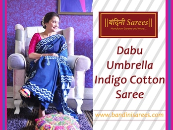 Bandini Saree again coming with Dabu Umbrella Indigo Cotton Saree. Perfect for office summer work wear and casual wear.  To know #more about it #visit @ https://goo.gl/rFeOyn  #dabuprint #cottonsaree #onlinestore #shoponline #casualwear #summerwear #umbrellaindigo #indianculture #indigosaree
