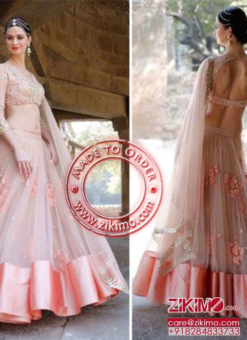 Peach Satin Net Mehandi/Sangeet Wear Floral Work Lehenga Choli at Zikimo Shop @ https://goo.gl/D7eGs7