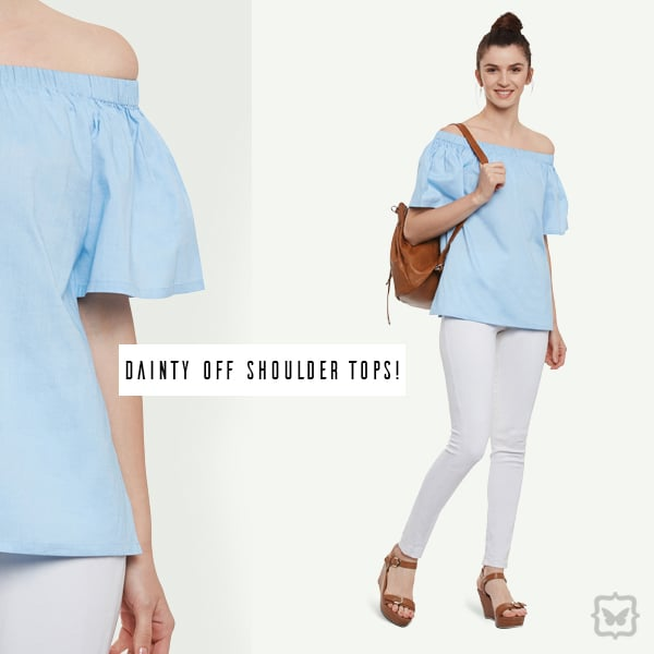 This Light Blue Promises Off Shoulder Top Is An Absolute Summer Staple!   STYLE TIP: Pair this with ripped white denims, colourful flats and oversized shades for a fun summer look.   Shop on http://bit.ly/2pZNnqu  #soroposo #onlineshopping #shopping #colour #shoppingtips #fashion #fashiontips #photooftheday #trendy #musthave #nowtrending #stylish #blogger #love #follow #fashionblogger #styleblogger #awesome #ootd #potd #ruffletop #summerstyle #summer #summer16.