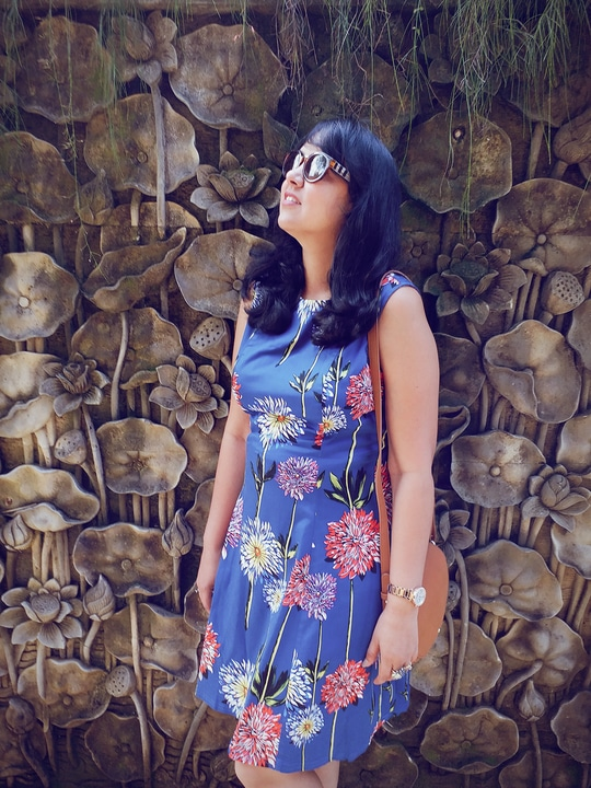 here is nothing blue about wearing a pretty floral dress and a statement ring! I wore this dress on a hot day in Bali, when it became a family agenda to walk on the streets of Seminyak the whole day. Seeing how hot and humid Bali weather was, the dress was a perfect fit for a day to be shopping for crochet linens, dream catchers and knick-knacks. The most whacky part would have to do is statement maker from @damselcode. Check out my look (including my new buy from @michaelkors) on the blog! Read more http://beforbeauty.com/summer-outfit-bali-postfold-damsel-code/  #roposoblogger #roposolive #roposogal #roposo #fashiondiaries #ootd #fashion #soroposo #beautyblogger #fashionblogger #Bali #traveltips #postfold #beforbeauty