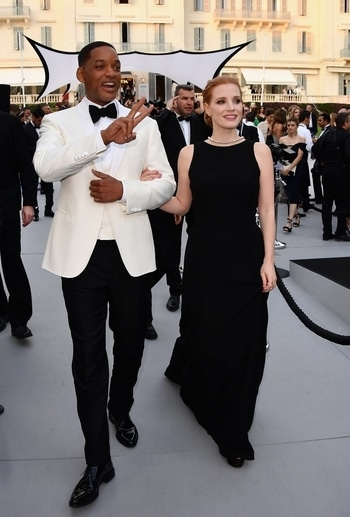 Will Smith and Jessica Chastain at the amfAR Gala Cannes 2017 at Hotel du Cap-Eden-Roc. #cannes2017 #internationalfashion #international #event