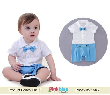 One Piece Baby Boy First Birthday Romper Suit with Bowtie Set  Price: Rs.1565 Size Available: 0 to 18 Months Call us or whatsapp to order: +91-800-355-0118 Buy Now : http://bit.ly/2rFsEMT  #boyoutfits #summerfashion #dress #firstbirthdaydress #infantromper #boyromper #rompersuit #designer #trendy #shopping #pinkblueindia