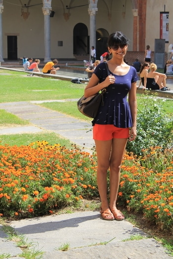 Matching matching ;) Matching my shorts with the marigold ;) No such thing called too girly :)  #matching #popofcolour #orange #shorts #peplum #peplumtop #travel #travellers #italy #comfy #cute #summer-fashion #summerfashion #cool #summer #ootd #Lotd #potd #roposo #roposogal  #streetstyle #fashion #fashionista