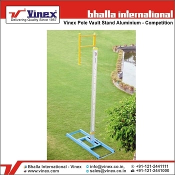Bhalla International - Vinex is one of the world's Leading Manufacturer, Exporter & Supplier of IAAF Approved Pole Vault Stands. The uprights and risers are made of Heavy Gauge Aluminium Tubing. Height Adjustment up to 21.75 feet, English & Metric Scale. Bases are made of heavy steel for extra sturdiness and stability. Also includes 8 Anchor pins. Height adjustment from 366 cm to 640 cm. For more detail about our product please visit at http://www.vinex.com/Sports_Training_Equipment.php?Product_Category=54 or call us at +91-121-2441111 #PoleVaultStands #PoleStands #IAAFApprovedPoleVaultStands #IAAFApprovedPoleStands #TrackandField #TrackandFieldAccessories #TrackandFieldEquipment #TrackandFieldEvents