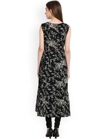 Women Black Printed A-Line Kurta #Kurta #women #women-fashion #womensonlinshopping #womenwear #womensstyle #blue #solid #kurti #muskerzfashion #muskerz #latest #latestfashion #like #comment #buy #buynow