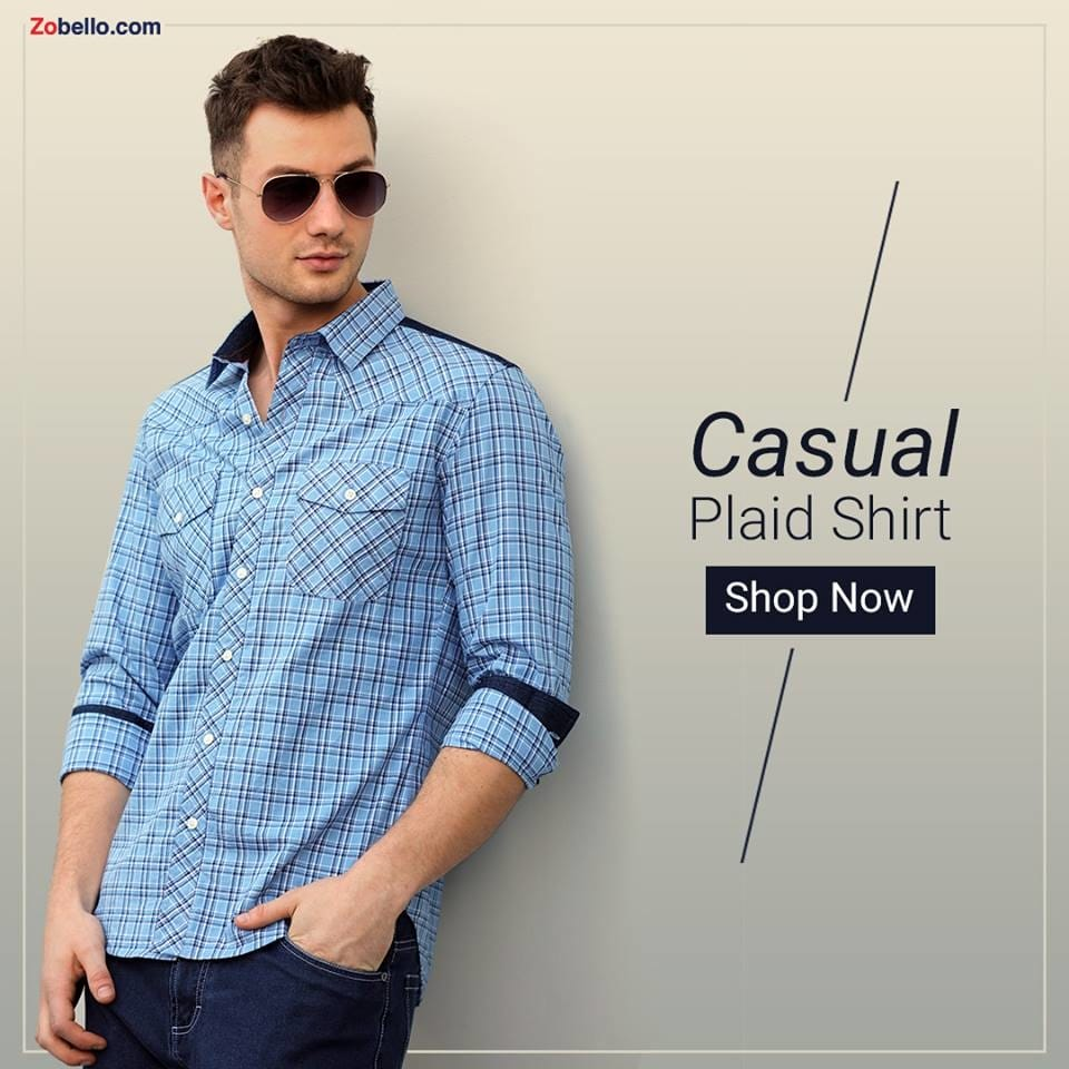 Slay those Monday blues away in this rugged check shirt for men with denim detailing.  Shop this style @ https://goo.gl/4kbTBv  #zobello #fashion #shopping #shirts menswear