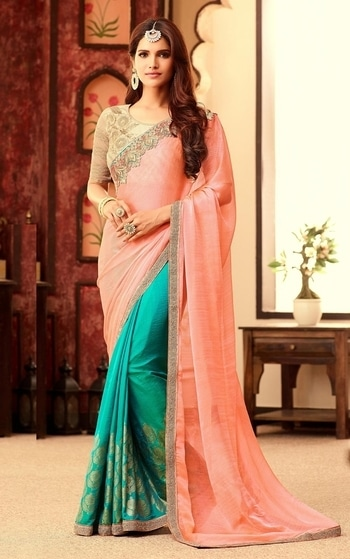 PEACH & TURQUOISE WEDDING WEAR CHIFFON SILK SADI WITH BLOUSE To shop this awesome party wear sari online, click the below link https://www.gravity-fashion.com/peach-turquoise-wedding-wear-chiffon-silk-sadi-with-blouse-e17126.html