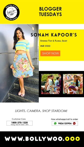 """Blogger Mahhima Kottary of the blog """"Mahhima Bloggs"""" in Sonam Kapoor's look wearing our Striped Top and Floral Skirt.  Visit Bollywood's official experience store - www.BollyWoo.ooo  #BollyWoo #BollywoodDecoded #BollyOverMolly #StopTheScreen #ShopTheScreen #trendy #cool #fashionforver"""