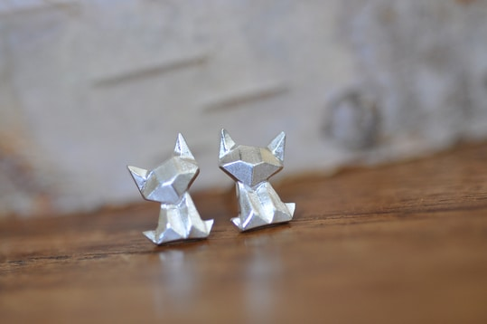Super super adorable cute little Origami Cat Earrings