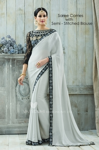 Party Wear Grey Moss Georgette Saree - VARISDDHI-3353 @ Rs . 2930 /- Only  Buy Now : https://goo.gl/EgfCXX  Order On Whatsapp : 09321219977  Flat 10% OFF on First Order ( Use Coupon - IAMNEW10 ) Get Free Home Delivery + COD + Easy EMI + Easy Refund / Replacement Policy.!!  *100 % Customer Satisfaction * Stitching Service Available * Hurry Up To Grab Exciting Offer On storeadda !!!! * World Wide Shipping   #saree #designersaree #women-fashion #bollywoodfashion #sale #storeadda #partywear #fashionblogger #bloggerstyle #ethnicwear #bolg #half&halfsaree #designersaree #grey #moss_georgette #sareesstyle