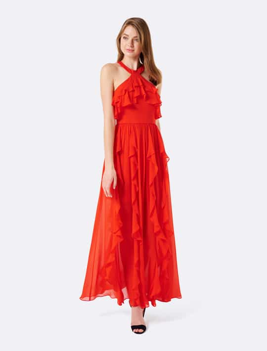 Wear our Katie Ruffle Arrow Neck Maxi with high heels and a modern clutch for a sophisticated evening look. Shop now : https://goo.gl/HAkzyi #forevernewstyle