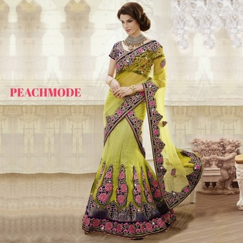 Peachmode is the global online shop for  Indian ethnic wear. We provide Sarees, Designer Sarees, Silk Sarees , Wedding Sarees, Lehenga Sarees,Partywear sarees, casual sarees To find this Saree: https://peachmode.com/sarees/wedding-sarees/