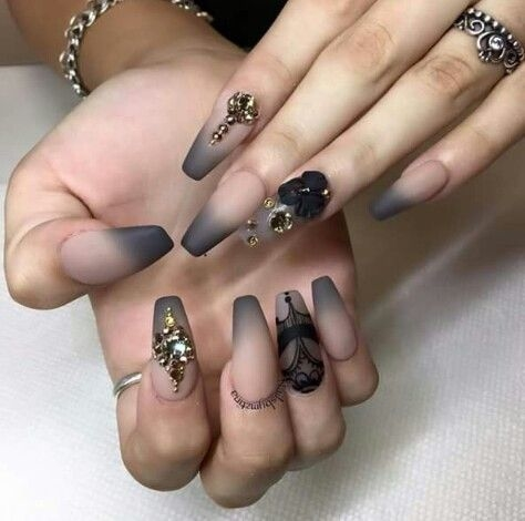 #nails #nail-designs #nailswithrhinestones #extensions #rhinestones #floral