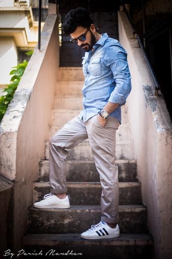 Are you impressed? or You are impressed! @houseofclass ♠️ . Pairing this denim shirt from @zara with steel grey chinos and my all time favourite @adidasneo sneakers ⚡️   📸- @parishmandhan . . #HouseofClass #denim #ootd #StylishSaturdays  . . . . . . . . #bloggersofIndia #OOTD #mumbaifashionblogger #bloggerlife #bloggerstyle #bloggerdiaries #blogpost #Black #aviators #bloggingisfun #bloggerwear #beardlife #shootdiaries #mensfashion #menstyle #mensstyle #menfashion #ootdmen #beard #HouseofClass #Mumbai #Basics #wegroom #sssmagazine #mymagicpinmumbai