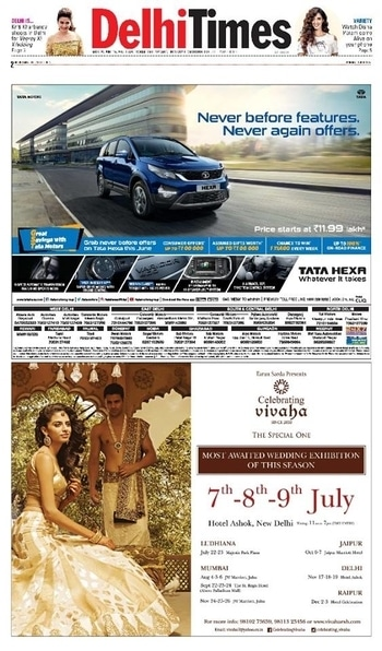 Celebrating Vivaha Featured in Times Of India, #Delhi Edition for its Upcoming Grand #WEDDINGEXHIBITION.  Catch the Latest trends in #CLOTHING and #JEWELLERY from the finest designers of #FASHION industry at Hotel The Ashok , New Delhi, India on 7th, 8th & 9th July 2017.  For Queries Visit at : www.vivahaexb.com/upcoming-wedding-exhibition-in-delhi or Contact: 09811923456  #News #Clothes #Jewelry #DiamondJewellery #GoldJewellery #Bridal #Exhibition #BridalDresses #WeddingExpo #DesignerJewellery #DesingerDresses #WeddingDresses
